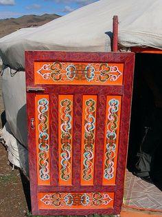 Door of a yurt. Mongolia