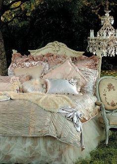 Marie Antoinette inspired bedding @}-,-;--