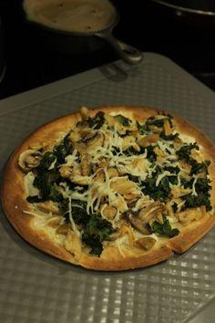 Pizza with Ricotta, Chicken, Kale, and Mozzarella {Gluten Free}