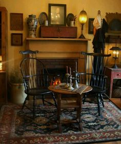 rug, fireplace mantles, fireplace mantels, coloni room, candl, hearth decor, windsor chairs, primitive rooms, primitive homes