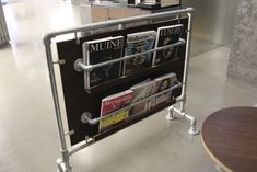 Pipe Magazine Rack  - Made with size 6 Kee Klamp pipe fittings.