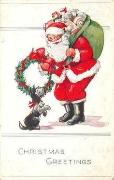 Santa Claus Big Green Toy Bag Wreath Little Scotty Dog Begging Embossed 1915