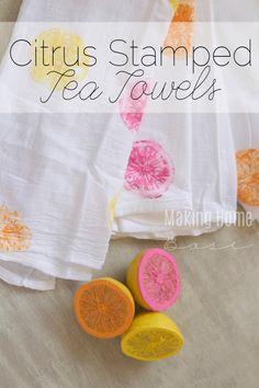 Lemon Stamped Tea Towels - so summery and cute!
