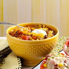 Taco Twist Soup Recipe from Taste of Home -- I lightened up this soup recipe by substituting black beans for the ground beef originally called for, and by topping off bowlfuls with reduced-fat sour cream and cheese.  —Colleen Zertler, Menomonie, Wisconsin  #healthy #quick #diabetic_friendly