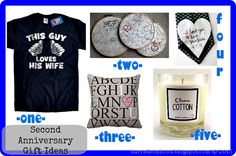 ... second anniversary gift ideas, pillow, candle, t-shirt, husband gift