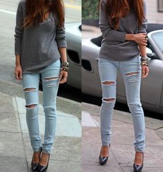 Ripped skinny jeans with heels. So dang cute!