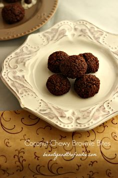 Chewy Coconut Brownie Bites. Easy, grain free, 5 ingredient, paleo treat with low carb options