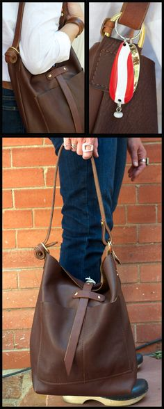 Brown leather slouch