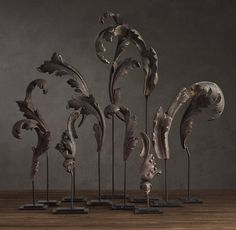 Acanthus Leaves Architectural Ornaments on Stands. Cast Metal with Aged Silver Patina. Circa 1930's, Reproductions. Restoration Hardware. These are Wonderful, even if they are Reproductions!!!