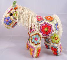 Love it! Fatty Lumpkin the Brave African Flower Pony Crochet Pattern pattern by Heidi Bears
