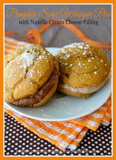 Pumpkin Spice Whoopie Pies with Nutella!!  A dream come true and... it uses a cake mix! Heaven!!  by whatscookingwithruthie.com #recipes #pumpkin #cookies