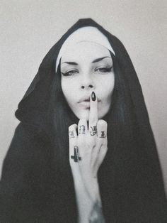 Jenny Cat, Nunsploitation † #nun #habit #tattoos #cross #crucifix #invertedcross #middlefinger #fuckoff #religious #iconography #nunsploitation #JennyCat