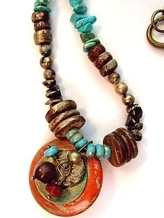 """Glazed Gold Gemstone Wood and Pearl Necklace 25.5"""" by MereTrinkets, $30.00"""