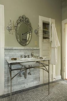 Idea for bathroom floor - grey basketweave tile