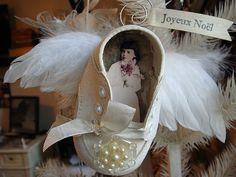 Angel ornament using a keepsake baby shoe.