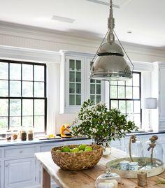 famhouse kitchen.  black windows + beadboard + texture | thom filicia