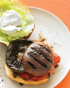 Balsamic Portobella Burger W/ Roasted Red Pepper And Goat Cheese