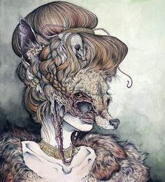 """""""Vulpes Masquerade'   18"""" by 20"""", ballpoint pen, water color, colored pencil, and micron pen on paper.  By Caitlin Hackett"""