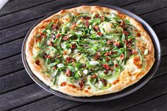 Shaved Asparagus and Bacon Pizza by Brandon Matzek #Pizza #Asparagus #Bacon #Brandon_Matzek