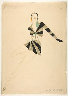 Costume Design  Olga Marynowsky  (active 1930s)  Date: ca. 1930s Medium: Watercolor with metallic inks over graphite on wove paper