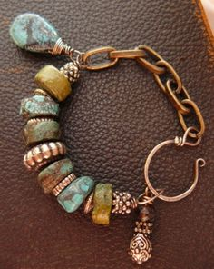 chunky turquoise and chain bracelet