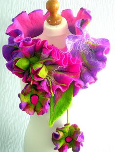 Hand Felted, Wool Jewelry felted woman ART scarf -Summer night   -by SkyWool