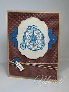 handmade greeting card ... Micheles Cards ... like the layered framelits for the main element ... old fashioned bike ... wrapped twine ... embossing folder text ... masculine card look ... Stampin' Up!