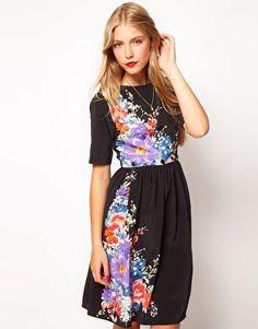 ASOS Midi Dress With Floral Print And Button Waist
