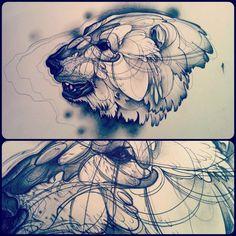 graphic tattoo, tattoo graphic, polar bears, tattoos, art, cage tattoo, tattoo bear, polar bear tattoo design, ink