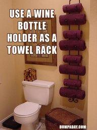wine racks, idea, towel racks, towel holder, small bathrooms, hous, wine bottles, towel storage, guest bathrooms