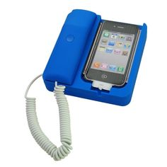 Call Your Drake Pals on This Drake Blue Retro Handset for iPhone 4S with Home Office Desk Headphone