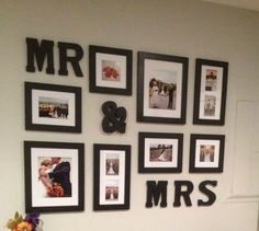 sweetheart table, frame, mrmrs, wedding wall, wedding photos, picture walls, wooden letters, wedding pictures, bedroom