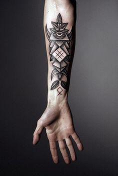 Forearm Tattoo: Eye, Dot Work, Symmetric