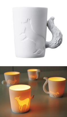 Foxtail Mug Set. Cute mug set that can also be used as votive holders.