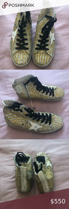 NIB! Golden Goose Silver Glitter Yellow Zebra, 36 Selling these Brand New (with tags!) Golden Goose Deluxe Brand Silver Glitter Yellow Zebra Francy's, Size 36. Original Price was $605. Selling for $550. Comes with original box and shoe bag. Golden Goose Deluxe Brand Shoes Sneakers