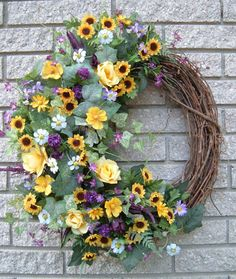Grapevine Wreath with floral accents
