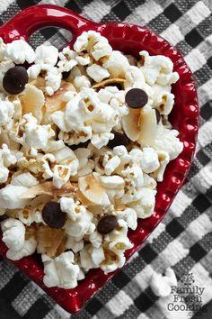 Chocolate Chip Coconut Popcorn | Recipe on FamilyFreshCooking.com #glutenfree #vegan