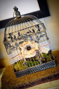 Summer Sale-- Rustic Vintage Wedding Birdcage Card Holder - SMALL SIZE ONLY. $30.00, via Etsy.