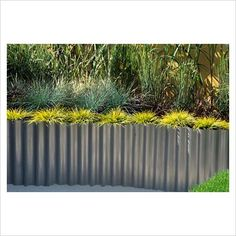 raised bed with corrugated metal sheet planted with grasses - www.gapphotos.com GAP Gardens & Plants