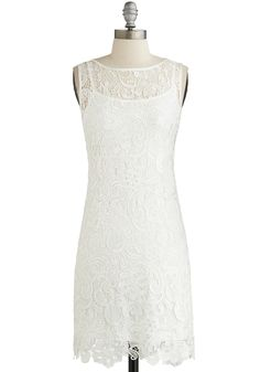 A Sweet Aperitif Dress in Crème. A great chef once told you the perfect plate must have a balance of flavors. #white #wedding #bride #modcloth