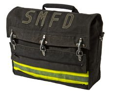 Laptop bag upcycled from Fireman's coat