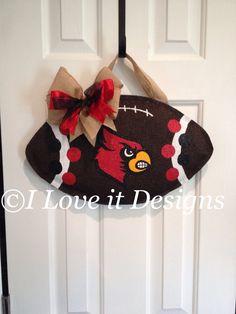 Louisville Football Burlap Door Hanger by ILoveItDesigns on Etsy, $30.00