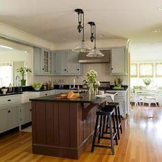 Blue Gray + Chocolate + Black interior design, open spaces, cabinet colors, blue, kitchen colors, farmhouse kitchens, subway tiles, kitchen color schemes, island