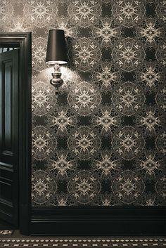 Aniseed Wallpaper half baths, interior, black doors, lace wallpap, wallpaper designs, black white, bathroom, victorian houses, catherin martin