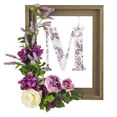 monogram wreath, floral project, clever craft, door, diy project
