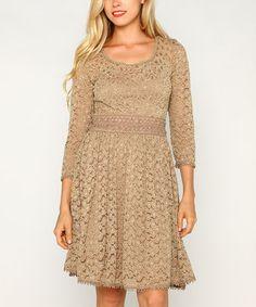 Taupe Lace A-Line Dress #zulily #zulilyfinds