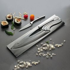 Meeting Knives is a set of kitchen knives: paring knife, carving knife, chef's knife, filleting knife and their block