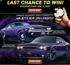 Ends 5/31/2014! Get DOUBLE TICKETS NOW! Use Promo Code:TP20141 at: http://www.dreamgiveaway.com/dg/challenger  Help kids charities! plum crazi, challeng giveaway, challeng dream, dodg challeng, kid chariti, 2013 challeng, dream giveaway, support chariti