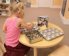 Stones, tweezers & tins (add a container of water to wash rocks in and play with)