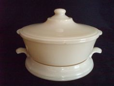 Fire King vintage Ivory Philbe Casserole, lid & trivet FREE SHIP  $105 OBO